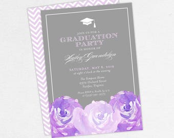 Graduation Invitation, Graduation Announcement, Printable Invitation, Invitation PDF, DIY, Printed, Watercolor Flowers, Gray, Purple, Hailey