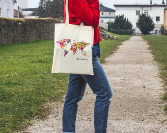 Canvas Tote Handbag - Custom Tote - Everyday Bag - Tote Bag - Canvas Tote - Map of The World - Canvas Bag - Canvas Tote Bag - Shoulder Bag