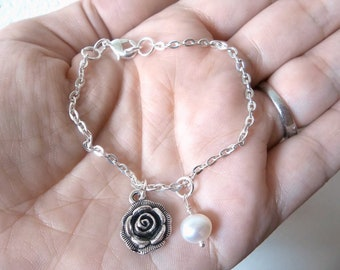 Rosebud Bracelet - featuring beautiful silver rose charm and freshwater pearl - READY to SHIP