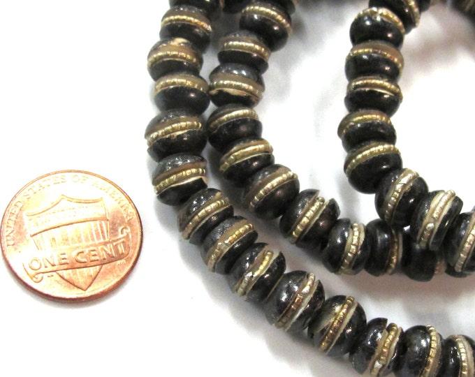 10 beads - 8 mm Tibetan brown black color bone beads with brass inlay - ML102B