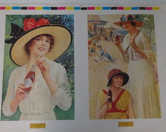 Large Vintage Coke Advertising Poster ~ Pre-Production Test Page