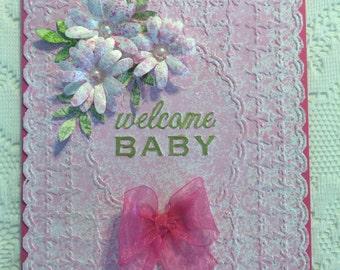 Baby Girl, Greeting Card, Pink, Greeting Cards, Birthday, Handmade, Cute, Girl