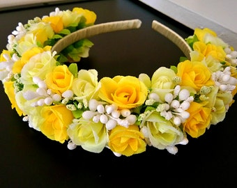 Yellow and White Flower Headband  for Girl or Woman