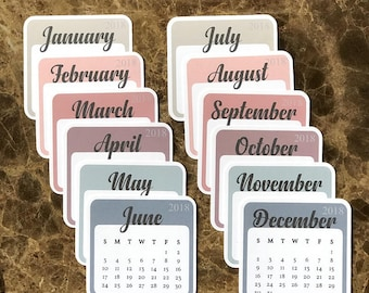 July to December CALENDAR DIE CUTS 3X3 Inches: Travelers Notebook | Planner Accessory | LucKaty