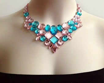 light pink and aquamarine rhinestone tulle collar necklace