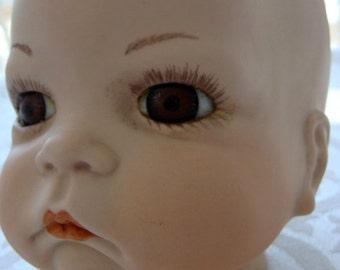 Vintage Large Beautiful Porcelain Doll Head/ Bust