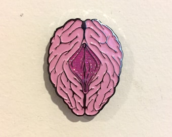 """Hat Pin  - """"On My Mind"""" -  design by Black Ink Art - Limited Edition"""