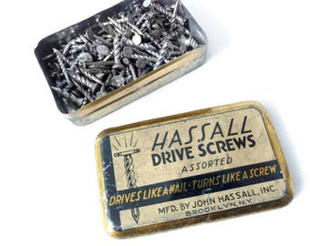 John Hassall Assorted Drive Screws Old Tin Box 1927 Drives Like a Nail Turns Like a Screw 1920's Hardware Tin Box of Nails