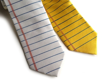 Legal Pad necktie. Wide Ruled lined paper tie. 100% silk, silkscreened tie. Perfect teacher, writer, author or geek gift.