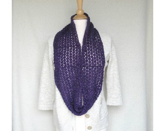 Knit Infinity Scarf, Eternity Scarf, Mobius Scarf, Teen Girls, Purple Sparkle Glitter Metallic, Cowl Scarf, Lacy Knit Scarf