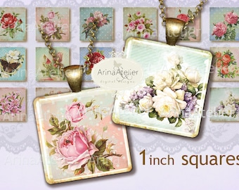 Shabby Flowers Square Micro slides - Digital Collage - Microslides 1 inch - Digital Collage Sheet for Earrings - Bottle caps - Pendants
