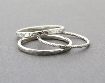 Stacking Ring Set, Stackable Ring, Silver Stacking Ring, Stackable Ring Set, Every day Ring, Delicate Stack Ring, super thin stackable Ring.