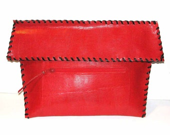 Red Embossed Lizard Foldover Clutch with Detachable Chain Shoulder Strap Handmade
