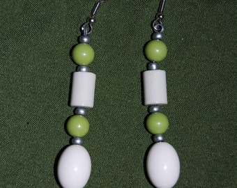 Green and White Bead Earrings