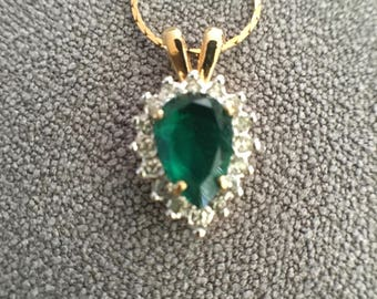 Tear (reverse) Drop Rhinestone w/ Emerald Colored Stone
