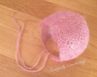 Newborn mohair bonnet.. pink bonnet.. photography prop.. ready to ship