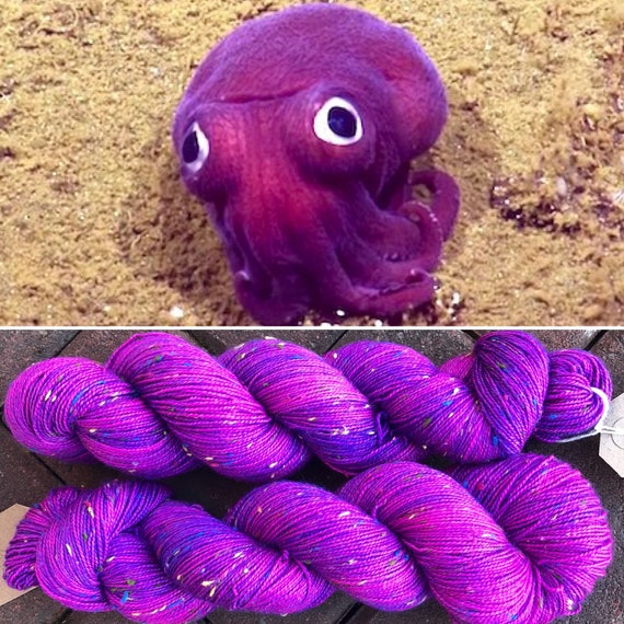 Stubby Squid Donegal Sock, pink purple UV reactive indie dyed yarn