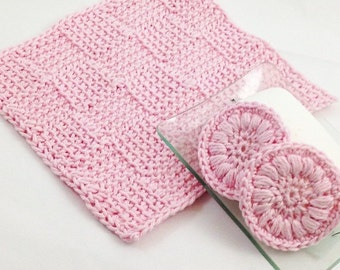 Crochet washcloth and cotton pads perfect mother's day gift