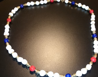 Vintage Red, White & Blue Beaded Necklace