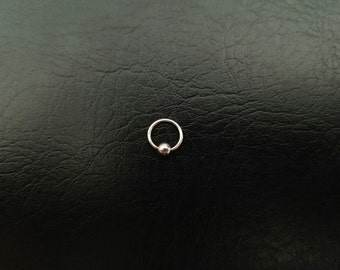"Tiny Titanium Captive Bead Ring 20g 18g 16g 14g 1/4"" (6mm) 3mm ball Nostril Hoop Helix Ring Tragus Cartilage ring Septum Silver"