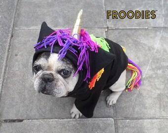 French Bulldog Boston Terrier Pug Dog Froodies Hoodies Halloween Costume Cosplay Rainbow Unicorn Pony Horse Fleece Jacket Sweatshirt Coat