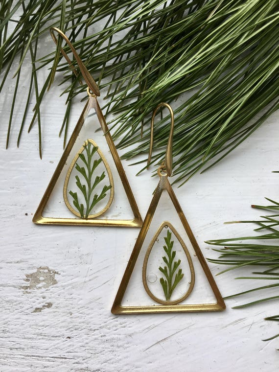 Lacy fern brass triangle danglies