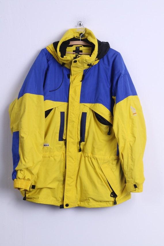 Serac Elho Mens XL Jacket Blue Yellow Hooded Nylon Waterproof Winter Parka OuQ2Xu