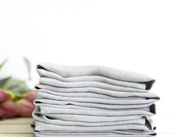 Linen napkins set of 6 - Stone washed linen napkin - Silver grey napkins - Dinner napkins