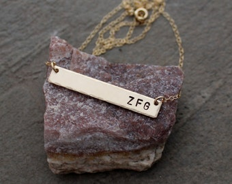Silver or Gold Bar Monogram Name Necklace - Skinny Bar Necklace - Personalized Bar Necklace - Rose Gold Bar Necklace - Initial Necklace