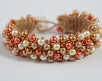 Deep Peach and Copper Pearl Beaded Bracelet