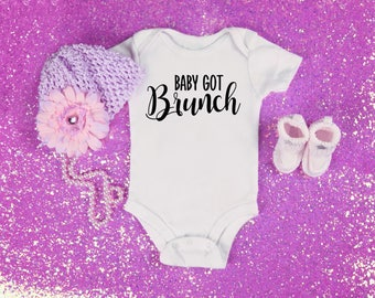 Baby got brunch graphic baby clothing for newborn, 6 months, 12 months, and 18 months funny graphic shirt