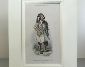 Antique print in window mount ready to frame. Beautifully drawn and hand coloured print. Patron de Batmen Grec. Greek costume.