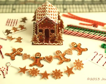 KIT Gingerbread House and Decorating KIT, Fabric and Paper Kit, 1:12, Dollhouse Miniature