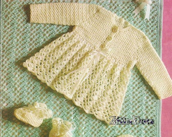 Baby Crochet Pattern - PDF Download, Crocheted Bonnet, Helmet, bootees, Coat and Pram Cover - 6 ply yarn