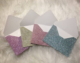 10 glitter envelopes/mini envelopes/note cards/thank you notes/gift card/glitter/envelopes/wedding/guestbook/card/love notes/small envelopes