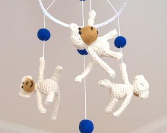 Baby nursery Mobile - baby crib mobile - 3 monkeys mobile ivory navy felted crochet kids room decor Made to order