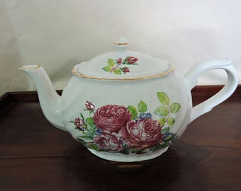 Vintage Teapot Made in England Cabbage Rose