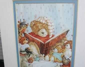 Matted Art-Teddy Bear Reading in Nightcap