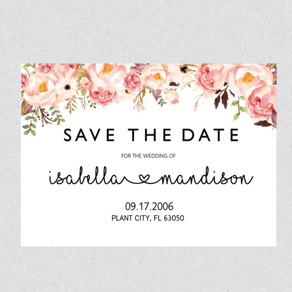 Printable Save The Date Template Card Floral Save The Date