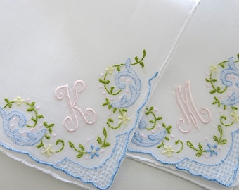 Bridesmaid Gift: Bridesmaid Handkerchief, Personalized Handkerchief with Single Initial
