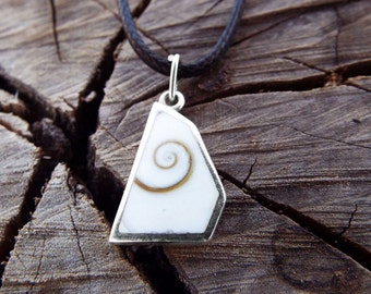 Silver Pendant Shiva Eye Seashell Handmade Necklace Beach Ocean Sea Protection Jewelry 1