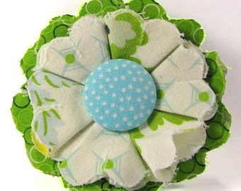 Fabric Flower Pin, Fabric Flower Brooch, raw edge flower, aqua, green, white - FP08