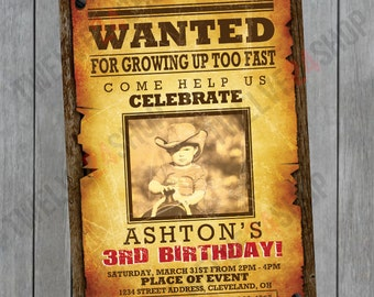 Cowboys Birthday Invitation - Cowboy Western Party Invitation - Wanted Birthday Invitation - Western Birthday Invitation