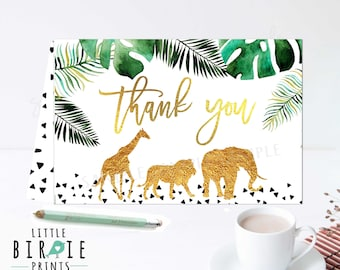JUNGLE animals thank you card Gold jungle animals thank you Jungle baby shower thank you Jungle birthday thank you Elephant Giraffe Lion