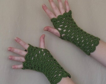 Olive Green Crochet Fingerless Gloves