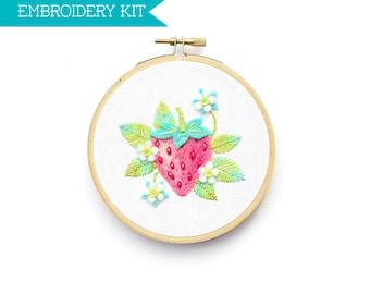 Embroidery Kit, Hand Embroidery Kit, PDF Embroidery Pattern, Strawberry Pattern Embroidery PDF, DIY Kit, Supply Kit, Fruit Design,
