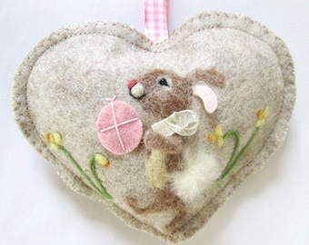 Easter Bunny Heart decoration, PINK egg , needle felted rabbit among the daffodils, felt heart personalised with name.