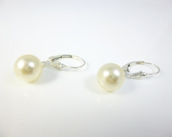 Dangle Pearl Earrings, Pearl Earrings, Sterling Silver, Drop Pearl Earrings, Lever Back earrings
