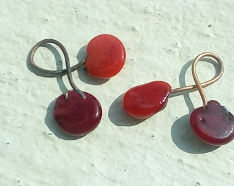 Created on demand: cherries - 2 shades of red - glass Lampwork