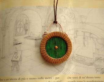 Hobbit inspired round door necklace, glow in the dark rune